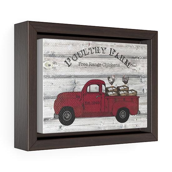 Canvas Print, Farmhouse Poultry Truck, Kitchen Wall Art, Horizontal Framed Wrap