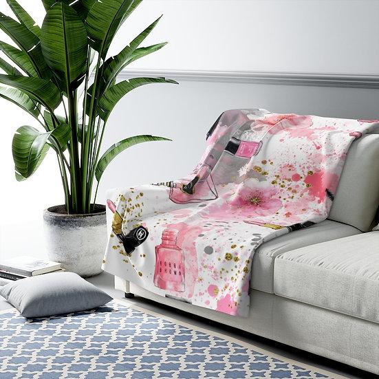 Blanket, Fashion Sherpa Fleece Blanket, Pink Fashion Fashionista illustration