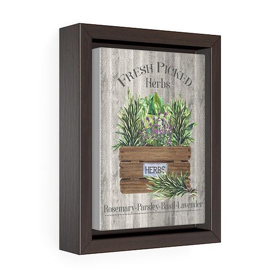 Canvas Print, Herbs Wall Hanging, Kitchen Wall Art, Vertical Framed Premium