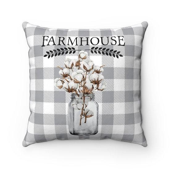 Pillow, Mason Jar of Cotton Throw Pillow, Farmhouse Pillow, Pillow Decor, Gray