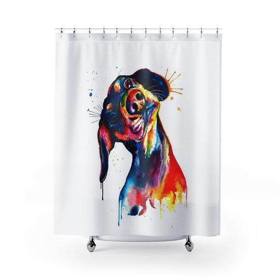 Watercolor Dachshund Shower Curtain, Dog Fabric Liner, Funny Bathroom Decor