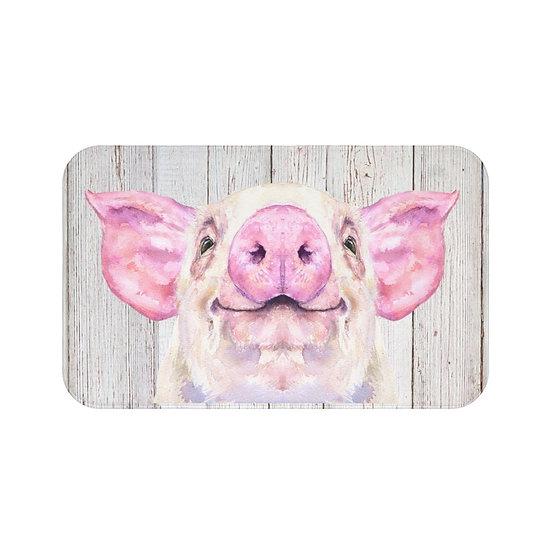 Bath Mat, Watercolor Wilber the Pig Bath Mat, Cute Piggy Non Slip Bathroom Rug