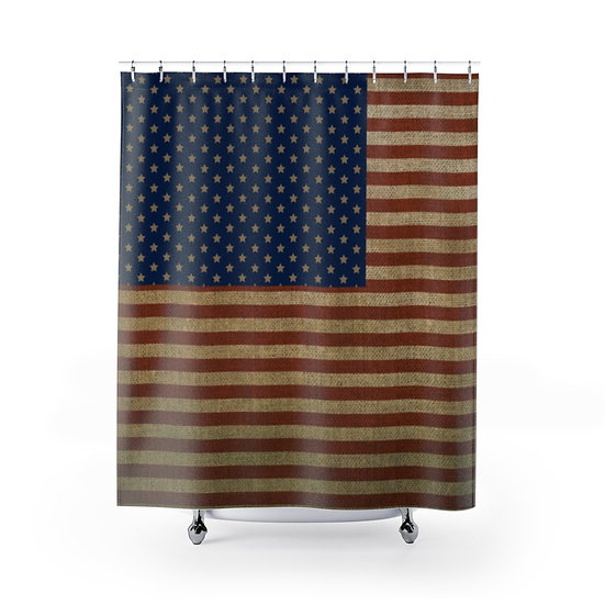 Rustic Flag Shower Curtains, Patriotic USA Fabric Liner