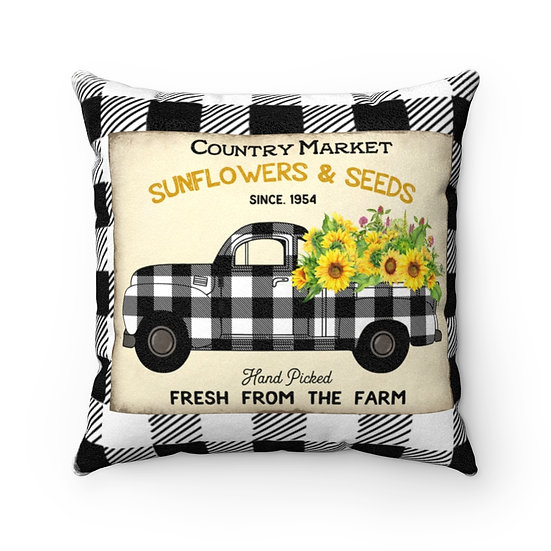 Farmhouse Pillow, Sunflower Truck Black and White Plaid Pillow with Cover
