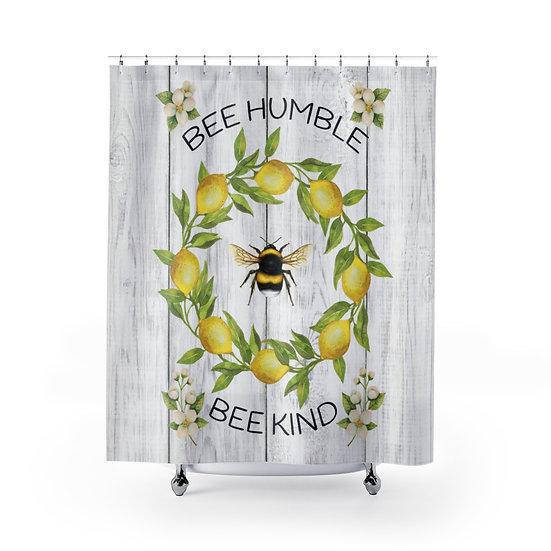 Shower Curtain, Lemon Bee Humble, Modern Farmhouse Designer Curtain