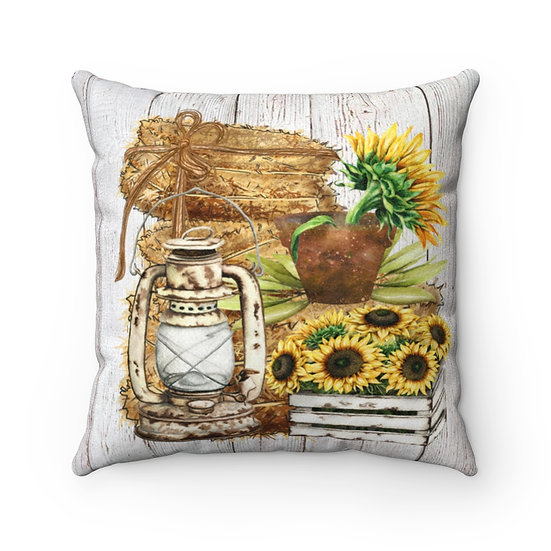Farmhouse Pillow, Country Sunflowers, Pillow with Cover