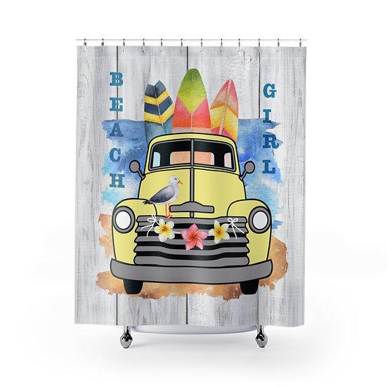 Shower Curtain, Beach Girl Shower Curtain, Yellow Truck Surf Boards Fabric Liner