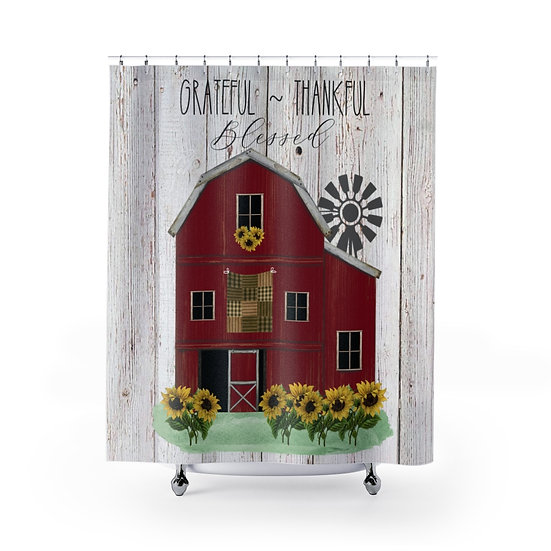 Farmhouse Red Barn Shower Curtain, Grateful, Thankful, Blessed Fabric Liner