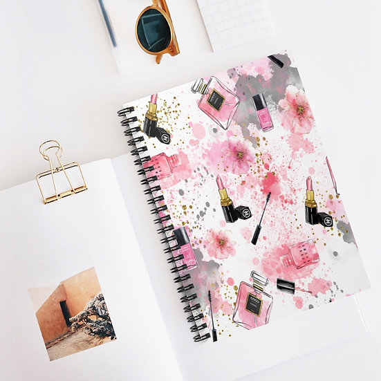 Spiral Notebook, Pink Girl Spiral Notebook, Fashion Makeup Designer Notebook