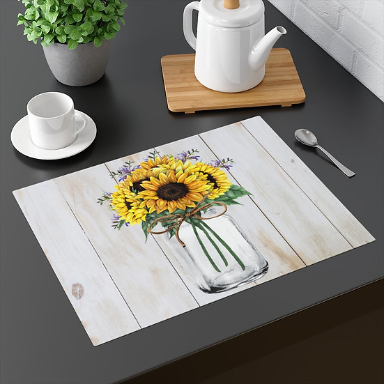 Farmhouse Placemat, Country Jar and Sunflowers, 18 in x 14 in Table Placemats