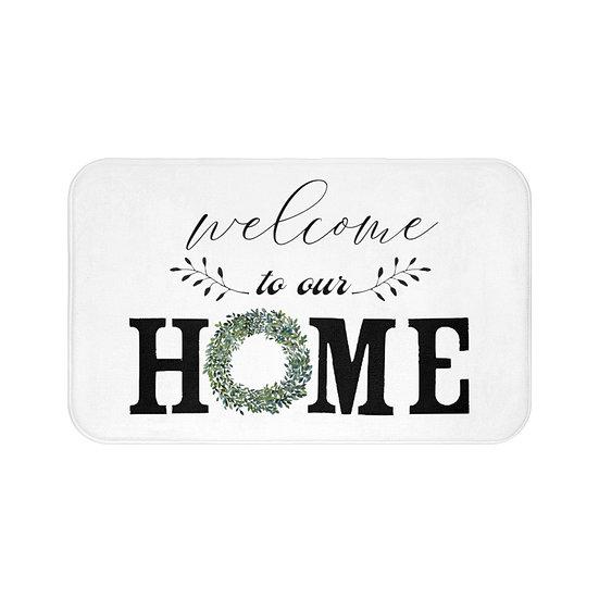 Bath Mat, Welcome to Our Home Wreath Bath Room Accessories, Bathroom Decor,