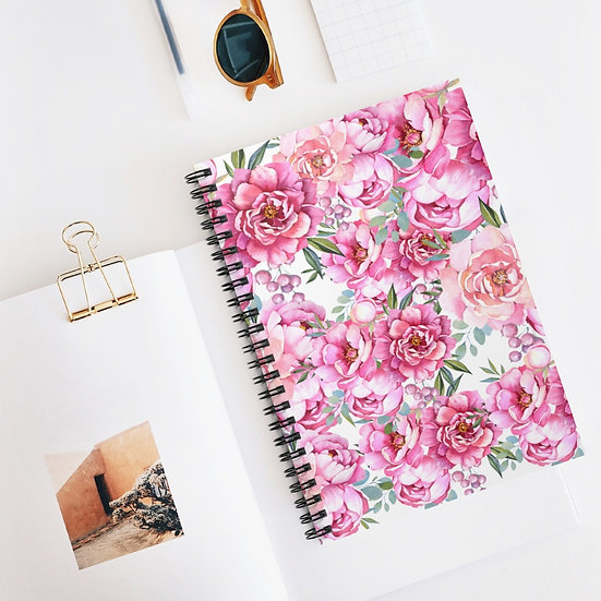 Spiral Notebook, Peony Fashion Spiral Notebook, Floral Fashion Girl Notebook