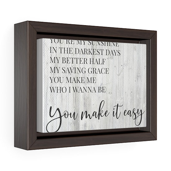Canvas Print, You Make It Easy, Jason Aldean Song Lyrics, Personalized Canvas