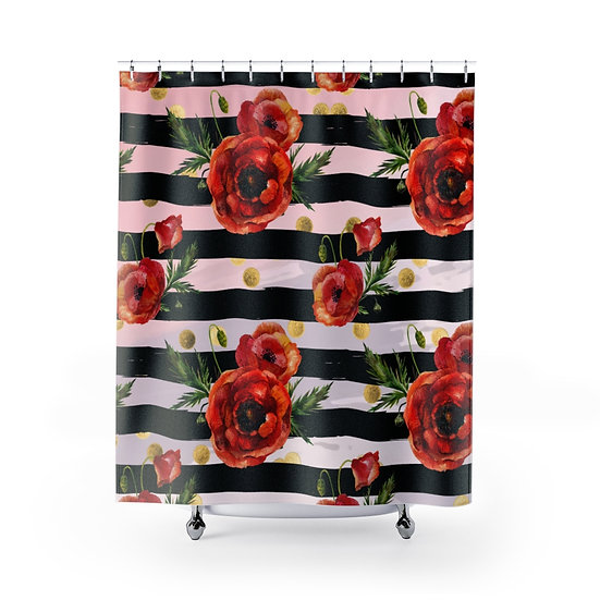 Shower Curtain, Poppy Fashion, Pink and Black Floral Fashion illustration
