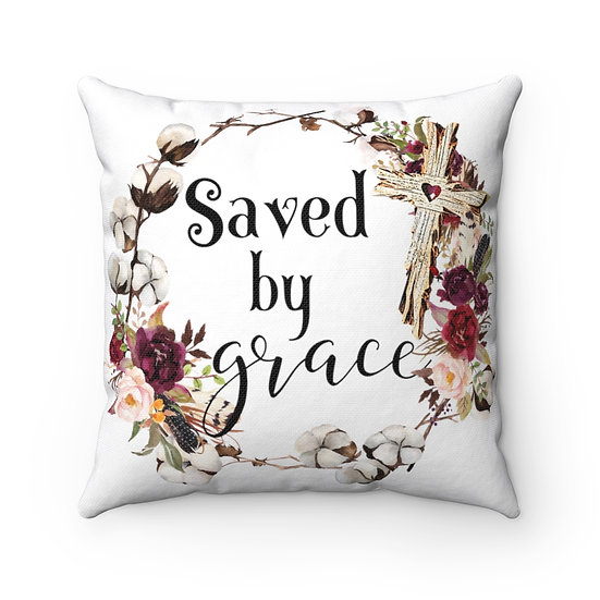 Saved by Grace Scripture Farmhouse Pillow, Scripture Quote Pillow