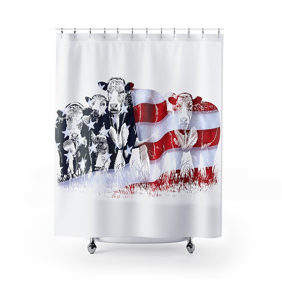 Shower Curtain, American Flag Cattle, White USA Cows Fabric Liner