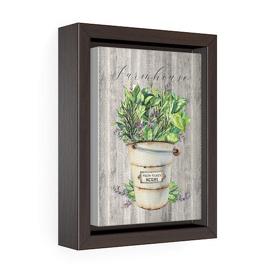 Canvas Print, Bucket of Herbs Wall Hanging, Kitchen Wall Art, Vertical Framed