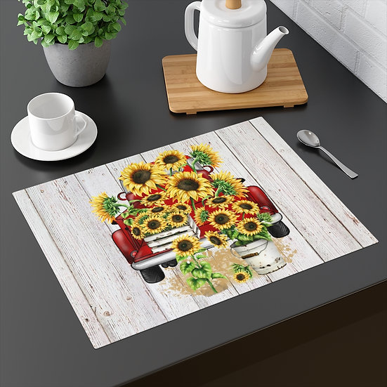 Placemat, Farmhouse Placemat, Sunflowers, Truck, Table Placemats, Kitchen Decor