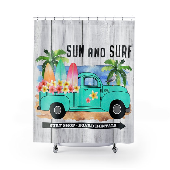 Shower Curtain, Sun and Surf Shower Curtain, Blue Truck Surf Boards Fabric Liner