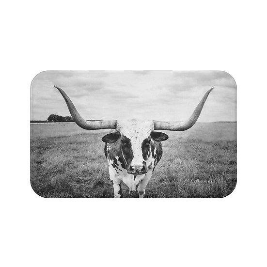 Longhorn Cow Bath Mat, Cow Rugs and Mats, Rustic Ranch Bathroom Decor