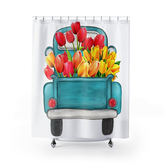 Farmhouse Tulip Truck Shower Curtains, Country Tulip Fabric Liner