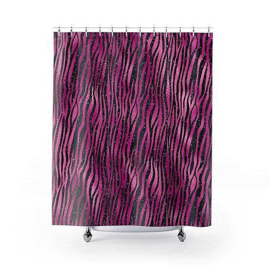 Hot Pink & Black Animal Print Shower Curtain, Glam Fashion Bathroom Decor