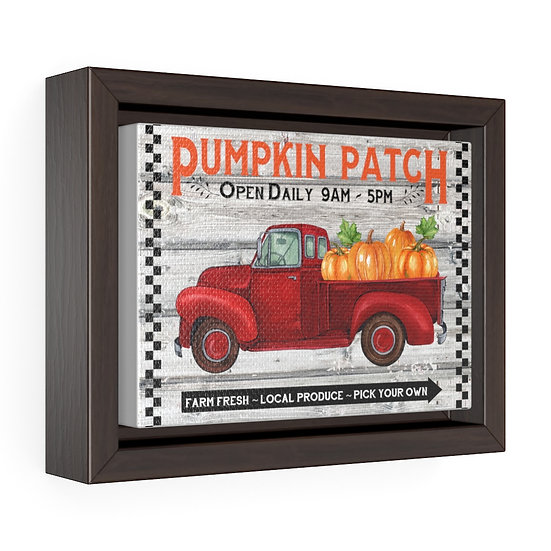 Canvas Print, Farmhouse Pumpkin Truck, Kitchen Wall Art, Horizontal Framed Wrap