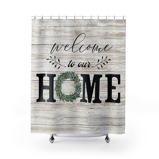 Farmhouse Barnwood Wreath Shower Curtain, Welcome to Our Home Fabric Liner