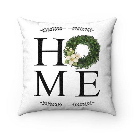 Farmhouse Pillow, Home Wreath Pillow with Cover