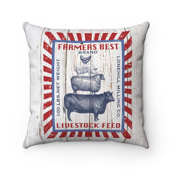 Pillow, Rustic Farm Livestock feed Sack, Country Farmhouse Pillow