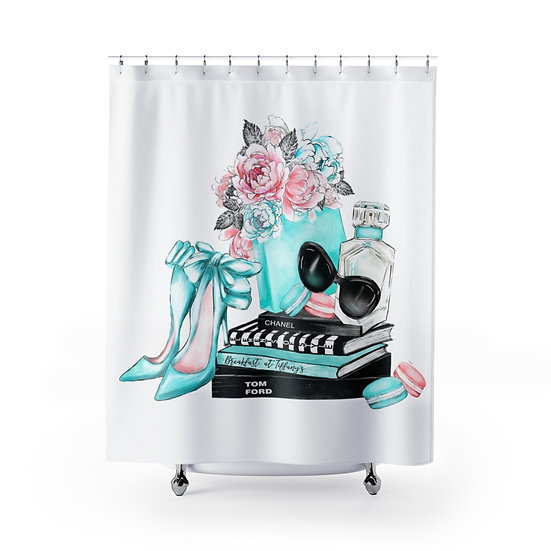 Shower Curtain, Fashion, Books, Shoes, Blue, Make up, Fashionista Shower Curtain