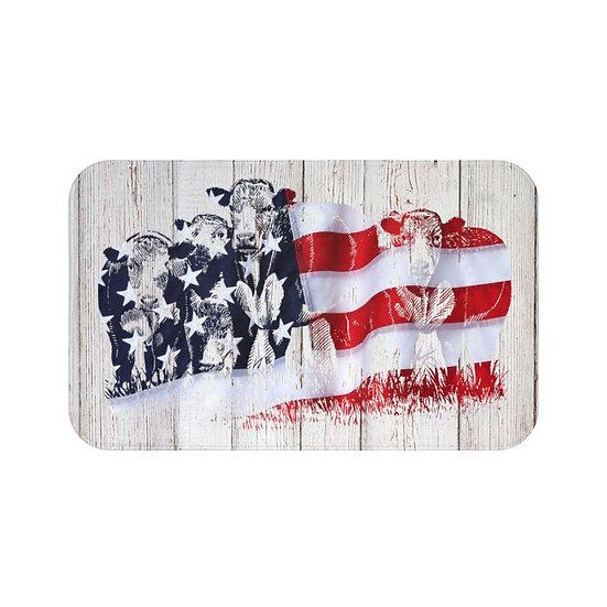 Bath Mat, American Flag Cattle Bath Mat, USA Cows Non Slip Bathroom Rug