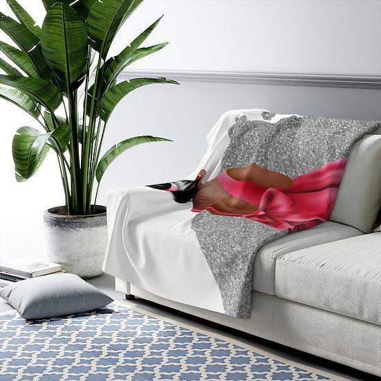 Blanket, Silver Fashion Sherpa Fleece Blanket, African American Fashion, Red