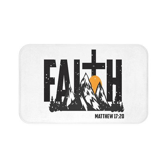 Faith Matthew 17: 20 Christian Farmhouse Bath Mat, Spiritual Quote Non Slip Mat