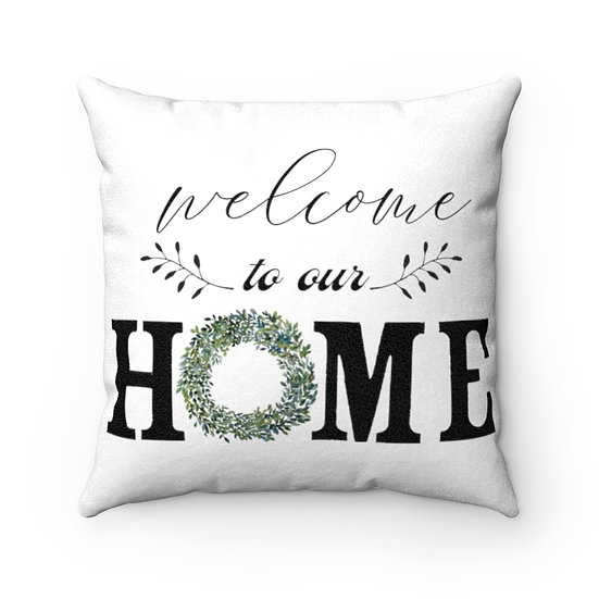 Farmhouse Pillow, Welcome Home Wreath Pillow with Cover