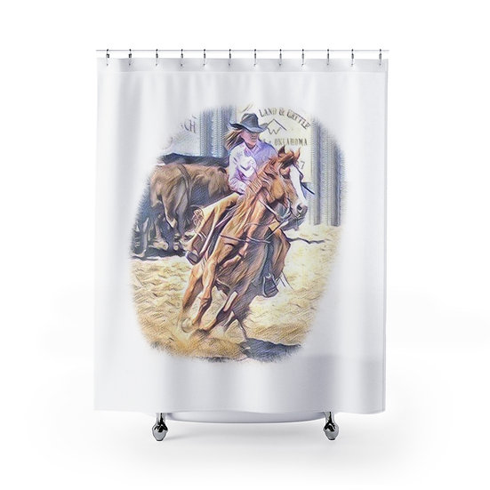 Shower Curtain, Barrel Racer, Cowgirl Shower Curtains, Country Western Shower