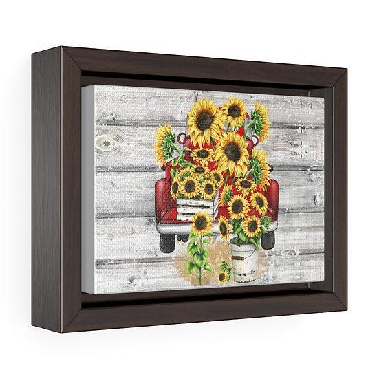 Canvas Print, Farmhouse Sunflowers Red Truck, Farmhouse Wall Art Horizontal