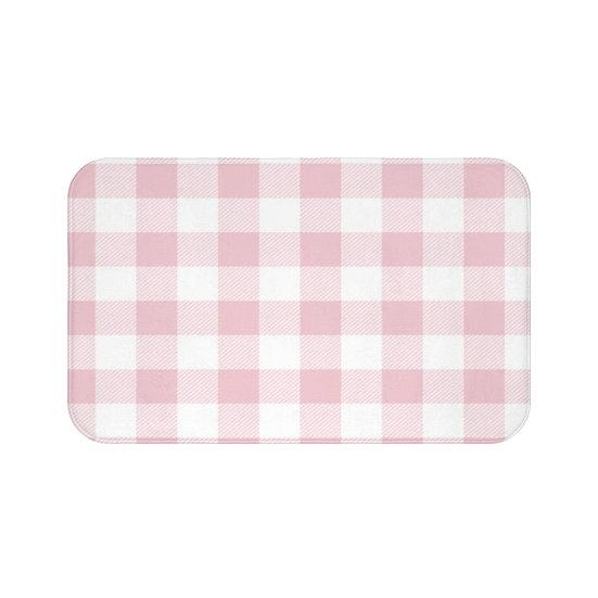 Pink Plaid Bath Mat