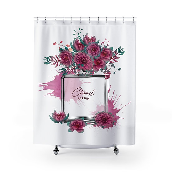 Shower Curtain, Fashion Illustration Succulent Perfume bottle