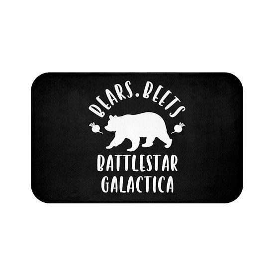 Bear Beets Battlestar Galactica Bath Mat The Office, Black Bath Room Accessories