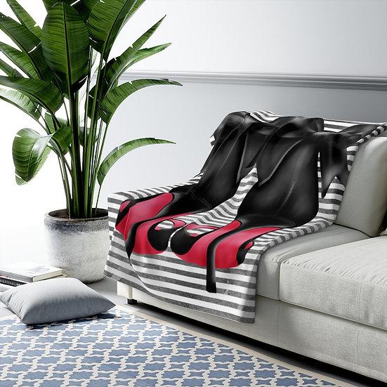 Blanket, Fashion Bows Red Bottom Heels Sherpa Fleece Blanket, Bows High Heels