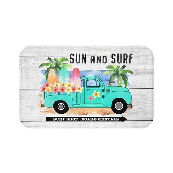 Bath Mat, Sun and Surf Bath Mat, Blue Truck and Surf Boards BathRoom Accessories