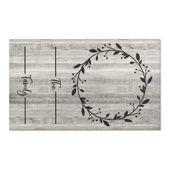 Area Rug, Family Name Wreath Rug, Gray Barnwood Print Farmhouse Rug, Country
