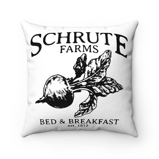 Pillow, Schrute Farms, The Office, Funny Faux Suede Square Pillow, Home Decor