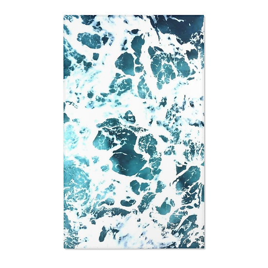 Ocean Waves Area Rugs, Blue and White AbstracRug
