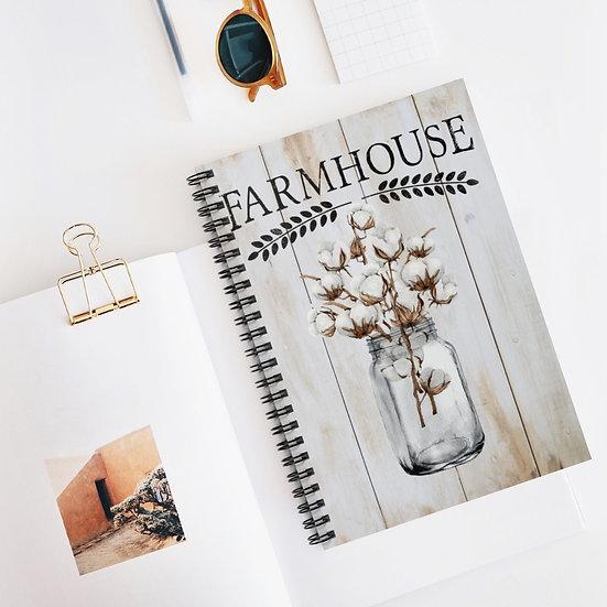 Spiral Notebook, Mason Jar Cotton Spiral Notebook, Farmhouse Notebook