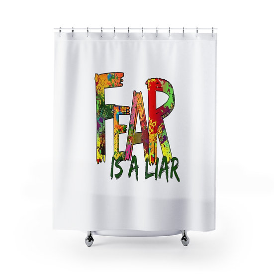 Fear is a Liar Christian Quote Shower Curtains, Christian Bathroom Decor