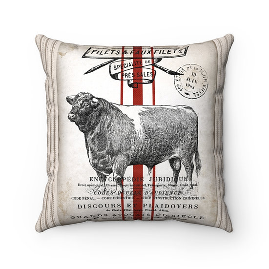 Pillow, Rustic Vintage Bull, Country Farmhouse Pillow