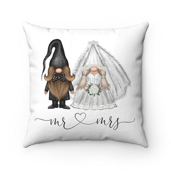 Mr & Mrs Wedding Gnome Pillow, Wedding Gift, Marriage Pillow, Ring Pillow