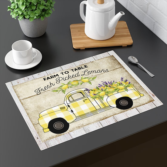 Farmhouse Placemat, Lemon Plaid Truck, 18 in x 14 in Table Placemats